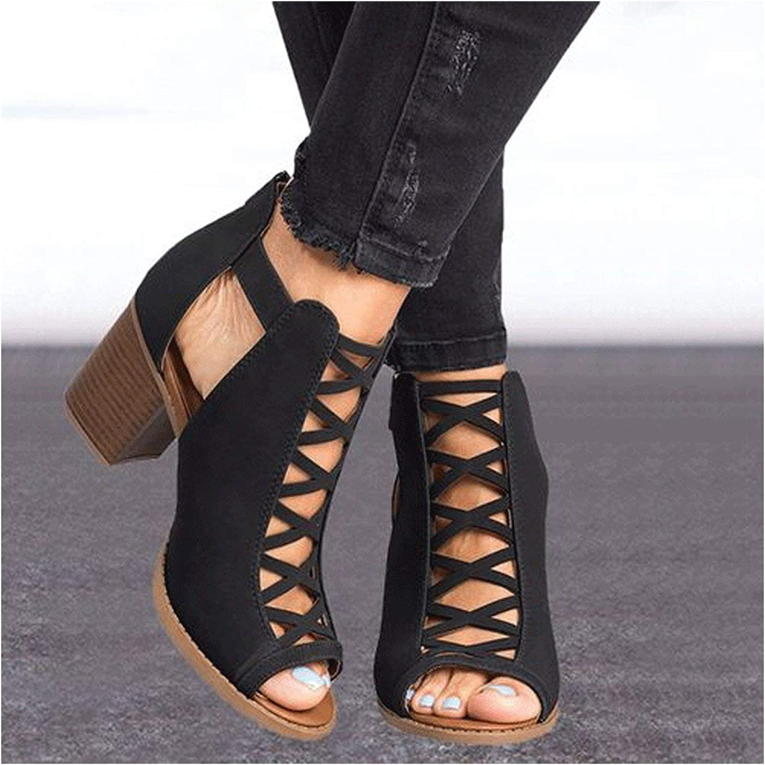 HANBINGPO Summer New Sexy Women Sandals High-Heel shoes Woman Fashion Rome Fish Mouth Hoof Heels Hollow Large Size 35-43 Casual shoes,Black,11