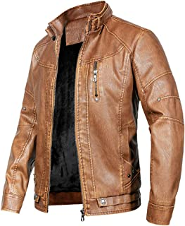 WULFUL Men's Vintage Stand Collar Leather Jacket Motorcycle PU Faux Leather Outwear