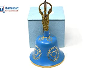 Tibetan Buddhist Meditation Bell Chakra Color - Bell of Enlightenment from Nepal 8 Inches Including free Box … (SKY BLUE)