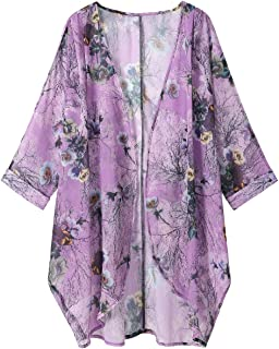 OLRAIN Women's Floral Print Sheer Loose Kimono Cardigan Capes