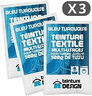 Lot de 3 sachets de Teinture Textile - BLEU TURQUOISE - teintures universelles pour vêtements et tissus naturels