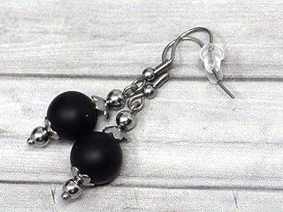 Orecchini da donna in acciaio inossidabile con perle di agata nera satinata