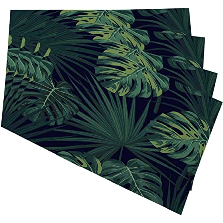 Set of 4 Botanical Placemats - Tropical Palm Leaves by elliottdesignfactory Banana Leaf Jungle Leaf Decor Cloth Placemats by Spoonflower