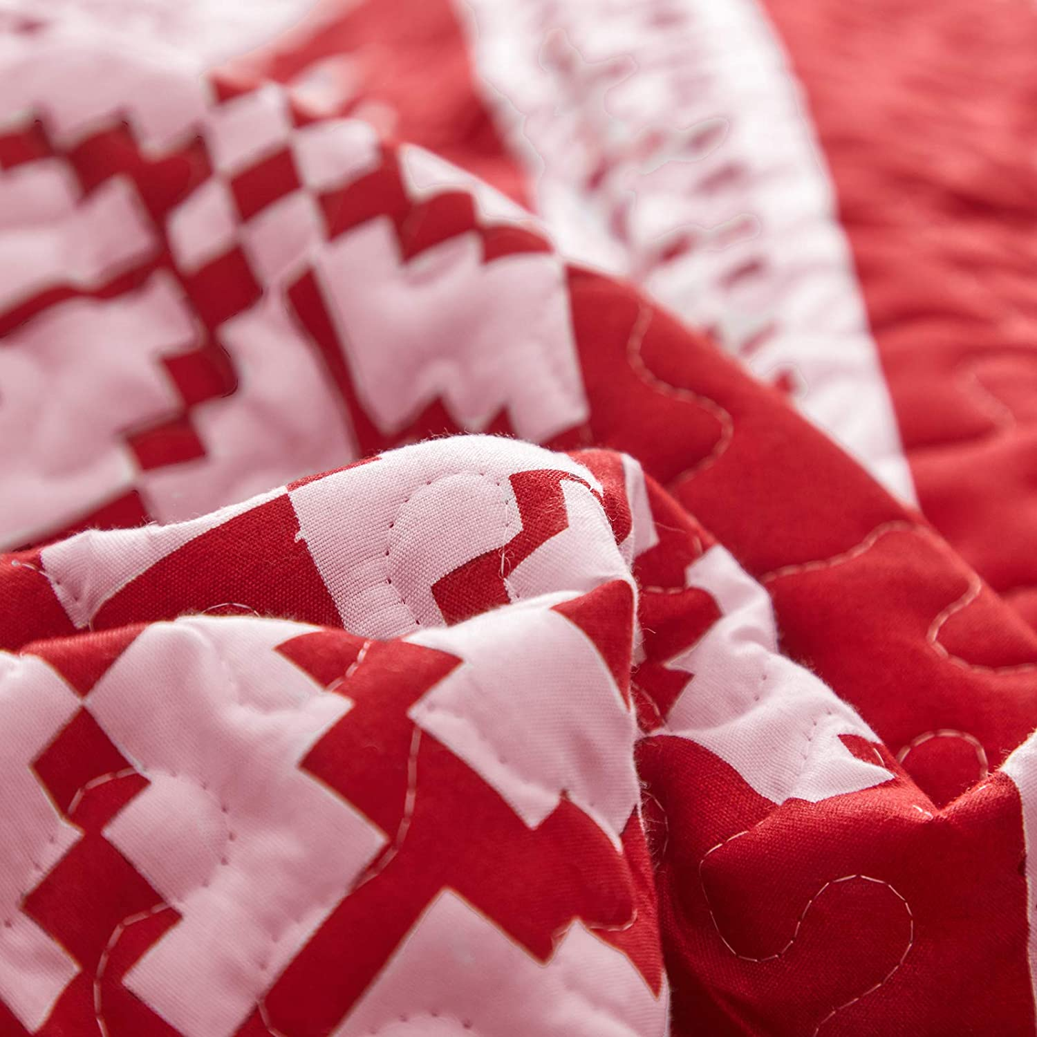 Uozzi Bedding 3 Pieces Quilt Set Christmas Red and White Snowflake Full Queen Size 88x88 Soft Microfiber Lightweight New Year Holiday Style Reversible Coverlet Bedspread