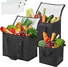 Syntus 5 Set Insulated Reusable Grocery bags – 2 Pack XL Insulated Grocery Cooler Bags with Sturdy Zipper, Collapsible, Stands Upright, 1 Shopping Tote Bags and 2 Mesh Produce Bags for Food Delivery