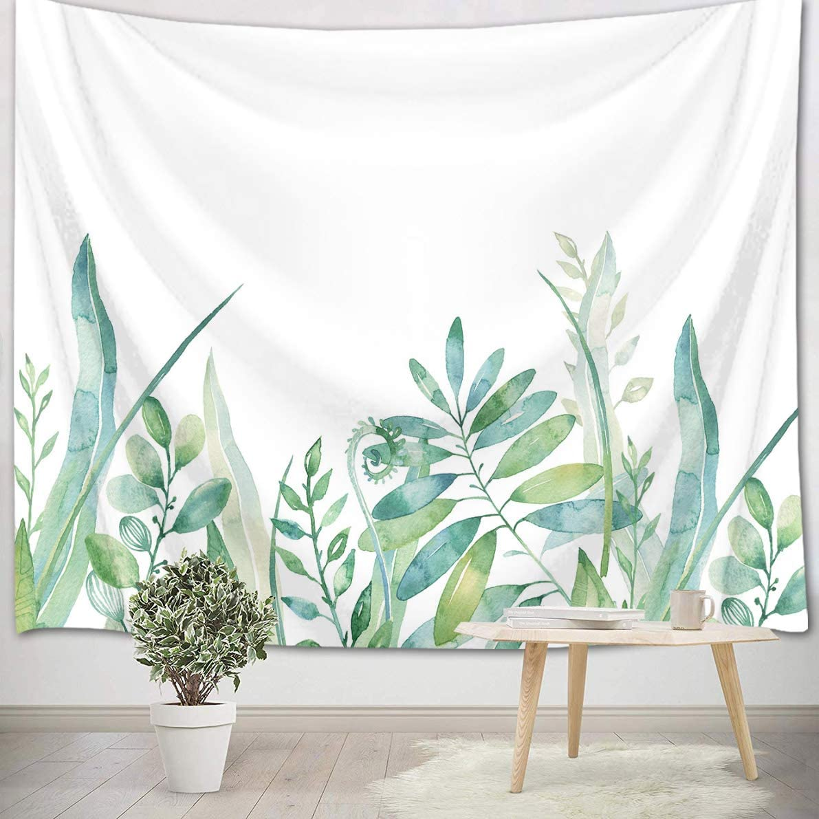 LB Watercolor Green Leaf Tapestry Plant Surprise price Nature Price reduction Hanging Bota Wall