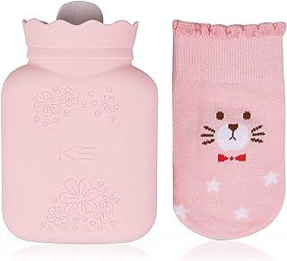 کیسه آب گرم سیلیکونی RUKAZA بطری گرمایش با پوشش گره ای-عالی برای تسکین درد ، درمان سرد و گرم-هدیه برای دختران بچه ها ، کریسمس ، تعویض هدیه Pary (صورتی ، کوتاه)