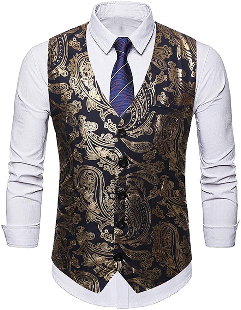 MODOQO Men's Waistcoat Gold Print Double Brested Sleeveless Vest Suit for Formal Party