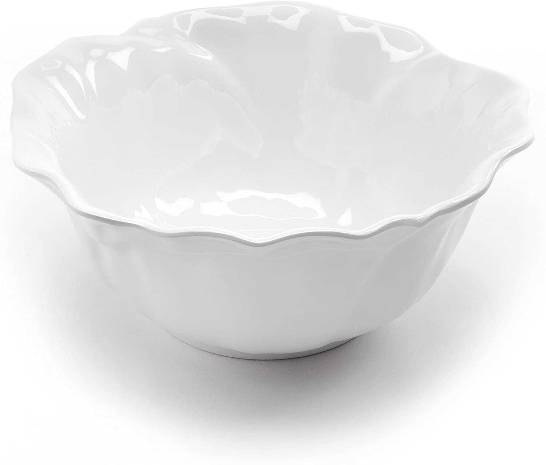 Amazon Com Q Squared Peony Bpa Free Melamine Serving Bowl 10 Inches White Home Kitchen