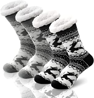 2 Pairs Women's Socks Winter Super Soft Cozy Fuzzy Christmas Gift Slipper Socks With Grippers