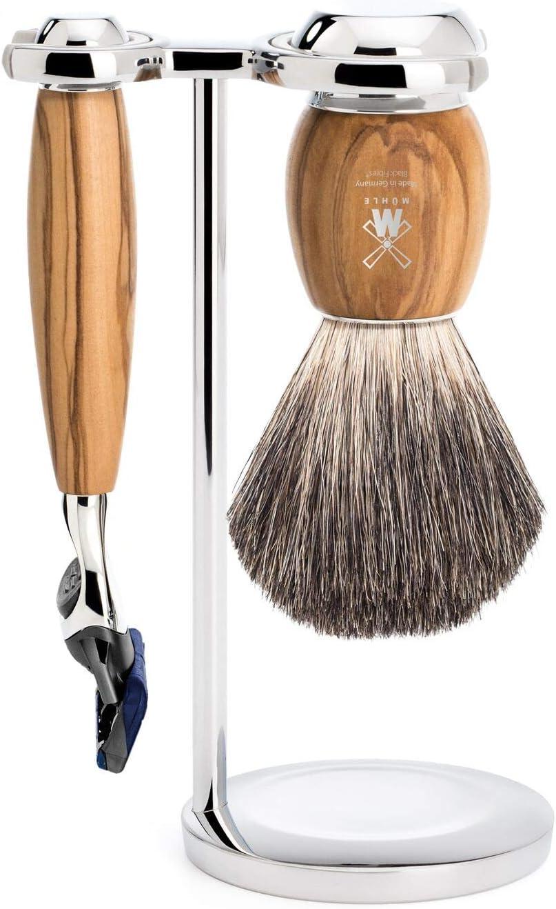 MÜHLE Vivo Pure Badger/Fusion - Juego de afeitado (3 piezas, madera de olivo)