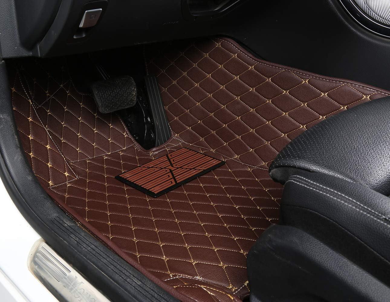 Bonus-Mats Custom Fit Luxury XPE Leather All-Weather Full Surrounded Waterproof Car Floor Mats Floor Liners for Mercedes Benz AMG C43 AMG C63 2015-2020 Sedan Beige