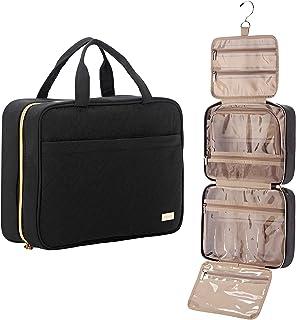 NISHEL Large Hanging Travel Toiletry Bag, Portable Makeup Organizer, Cosmetic Holder for Brushes Set, Full-Sized Shampoo, ...