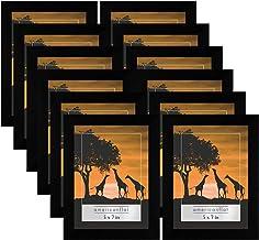 مجموعة إطارات الصور الجدارية من معرض الصور مقاس 12 قطعة مقاس 5 × 7 باللون الأسود - خشب مركب مع زجاج بليكس مصقول - أشكال أف...