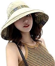 Women Wide Brim Reversible Sun Hat with Adjustable Neck Flap Foldable Floppy Travel Beach Sun Visor Hat UPF 50+