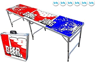 PartyPongTables.com 8-Foot Beer Pong Table w/Optional Cup Holes & LED Lights - 8 Table Designs Available
