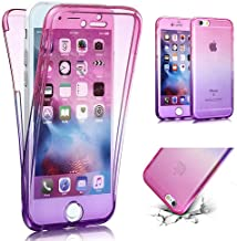 iPhone SE Case,iPhone 5S Case,PHEZEN Shockproof 360 Front and Back Full Body Protection Flexible TPU Bumper Case Anti-Scratch Protective Case for iPhone SE/5/5S, Gradient Pink Purple
