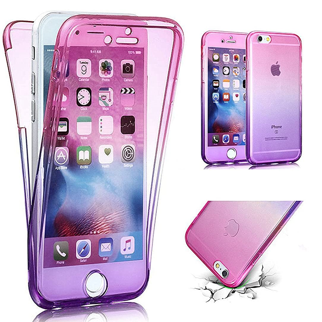 PHEZEN iPhone SE Case,iPhone 5S Case, Scratch Proof 360 Front and Back Full Body Protection Flexible TPU Bumper Case Anti-Scratch Protective Case for iPhone SE/5/5S, Gradient Pink Purple