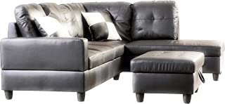 Russ Black Sectional with Ottoman Faux Leather