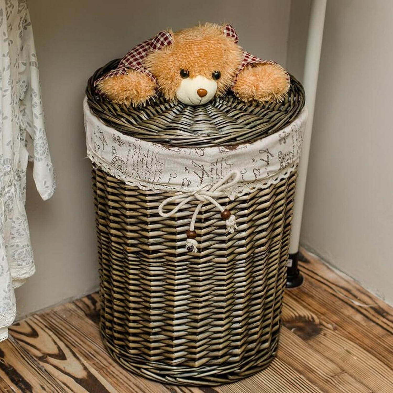 CHENGYI Dunkelgrau Dirty Clothes Aufbewahrungskorb Rattan Dirty Clothes Basket Wschekorb Coverot Toy Debris Krbe Dirty Basket Weide (Größe   Mouth Diameter 34cm high 40cm)