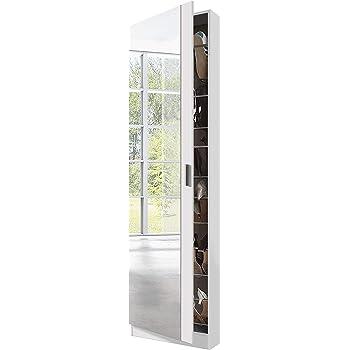 Habitdesign 007866BO - Armario zapatero con espejo, color Blanco Brillo, dimensiones 180cm (altura) x 50cm (ancho) x 20cm (fondo): Amazon.es: Hogar