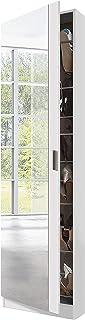 Habitdesign 007866BO - Zapatero con Espejo madera color Blanco Brillo 180x50x20 cm