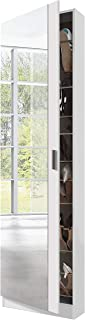 comprar comparacion Habitdesign 007866BO - Armario zapatero con espejo, color Blanco Brillo, dimensiones 180cm (altura) x 50cm (ancho) x 20cm ...