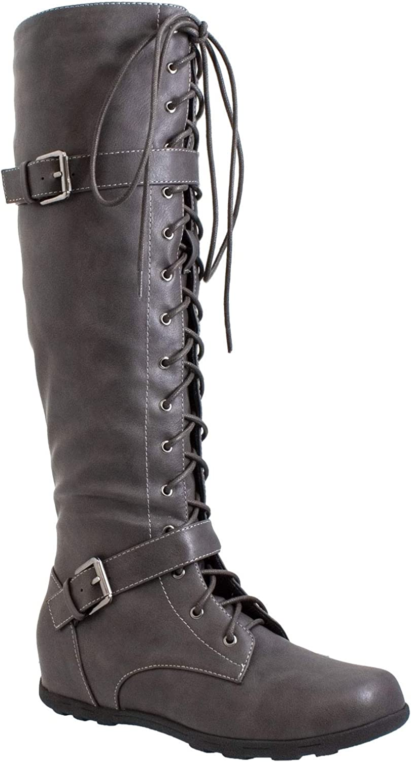 Generation Y Women's Knee-High Lace Up B Flat Boots Wedge Combat Max 40% OFF Seasonal Wrap Introduction