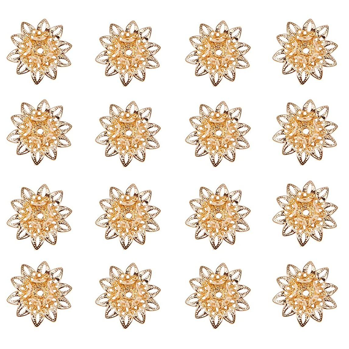 PandaHall Elite About 20 Pcs Brass Hollow Flower Petal Bead Caps Spacers 16x8mm for Jewelry Making Gold