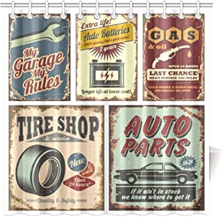 Vintage Car Metal Signs Automobile Advertising Repair Vehicle Garage Classics Servicing Image Bath Curtain Waterproof Fabric Bathroom Decor with Hooks, 72 X 72 inch Extra Long