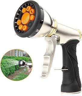 Garden Hose Nozzle Sprayer,Heavy Duty Metal Spray Nozzle 9 Adjustable Watering Patterns,Anti Leak Pressure Pistol Grip Trigger Water Nozzle Best for Hand Watering,Plants,Lawn,Car&Pets Washing.