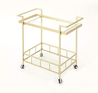 Christopher Knight Home 304467 Amaya Indoor Industrial Iron and Glass Bar Cart, Gold,