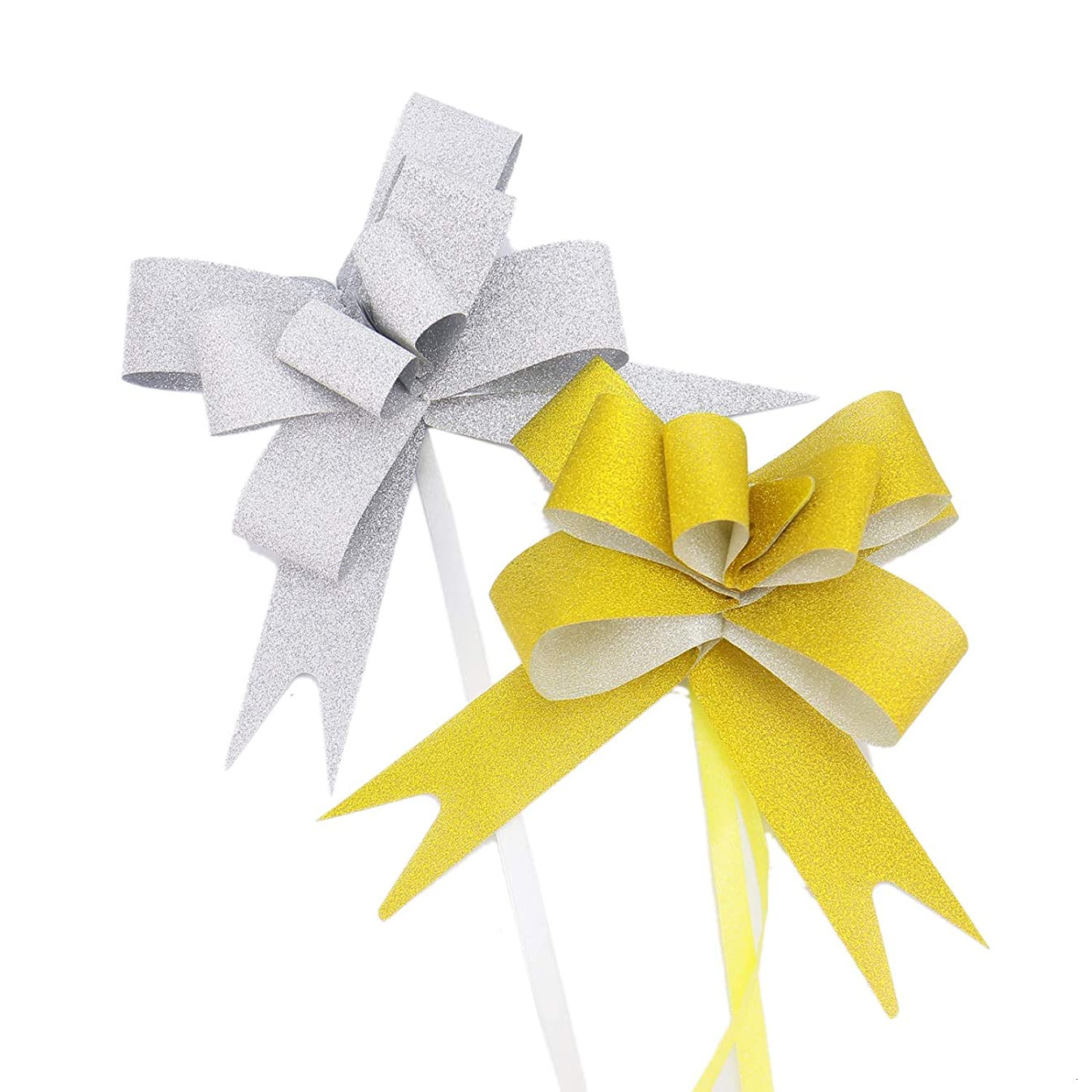 Monrocco 105pcs Glittering Pull Bows Gift Knot Ribbon Strings for Basket Gift Christmas Wedding Decoration, Glittering Colors