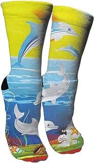 靴下 抗菌防臭 ソックス ドルフィンズアスレチックスポーツソックス、旅行&フライトソックス、塗装アートファニーソックス30 cmロング靴下