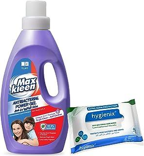 Maxkleen Liquid Detergent Antibacterial1L + Hygienix Wipes 40s