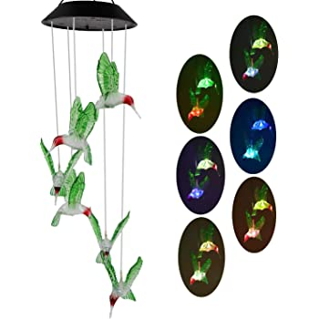 WINBOOM Solar Hummingbird Wind Chimes Outdoor Waterproof Solar Powered Six Led Hummingbird Lights Color Changing Mobile Hanging Decorative Bird Light for Outside Patio Garden Gifts Decoration