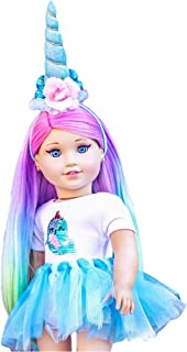 MY GENIUS DOLLS Narwhal Doll Clothes. Fits 18 inch Dolls Like Our Generation, My Life, American Girl Doll. Accessories, Outfits, Horn, Reversible Sequin Patch and Tutu
