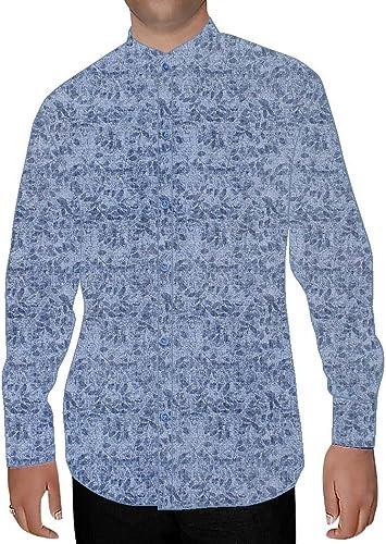 INMONARCH Hommes en Coton Imprimé Bleu Ciel Chemise Nehru NSH16008