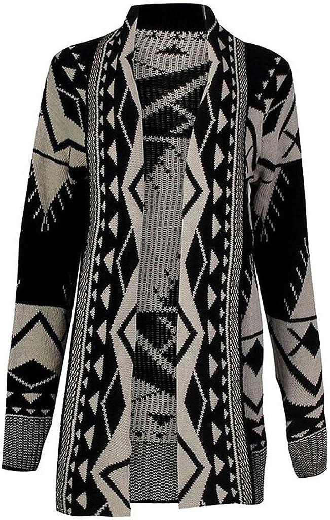 Rimi Hanger Women's Tribal Aztec Print Knitted Boyfriend Cardigan Sweater Top (S-2XL)