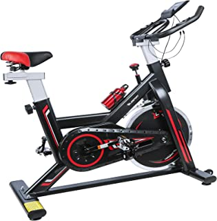 TELESPORT Indoor Cycling Bike, Cardio Workout Fitness Spinning Bike Quiet Belt Drive Exercise Stationary Bycicle, 35lbs Stable Flywheel/Adjustable Seat & Handle/LCD Monitor with Holder for Tablet