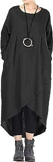 Women's Cotton Linen Dresses Fall Irregular Hem Shirt Dress with Pockets
