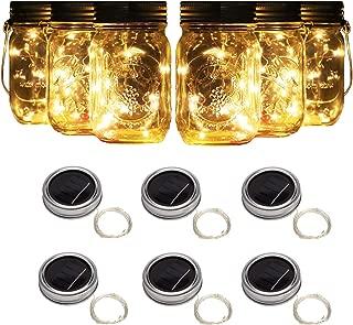 6 Pack Solar Mason Jar Lights, 10 Led String Fairy Firefly Lights Lids Insert for Regular Mouth Jars, Mason Jar,Patio,Lawn,Garden Decor (6, Warm White)
