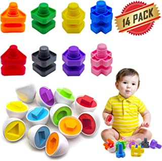 ELifeBox 14 Pack Jumbo Nuts Bolts and Matching Eggs Fine Motor Skills Toys Set for Toddlers, Matching Color and Shape Game Toy Improve Motor Skills