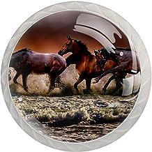 AITAI Paarden Fauna Zee Galopping Ronde Kabinet Knop 4 Pack Trekt Handgrepen