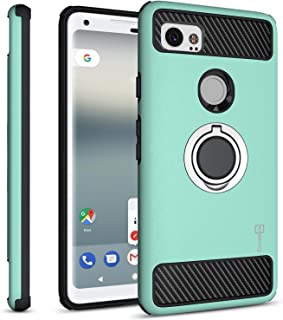 Google Pixel 2 XL Case with Ring, CoverON RingCase Series Protective Phone Case with Carbon Fiber Accents and Finger Ring Grip for Pixel 2 XL/2XL - Mint Teal and Black
