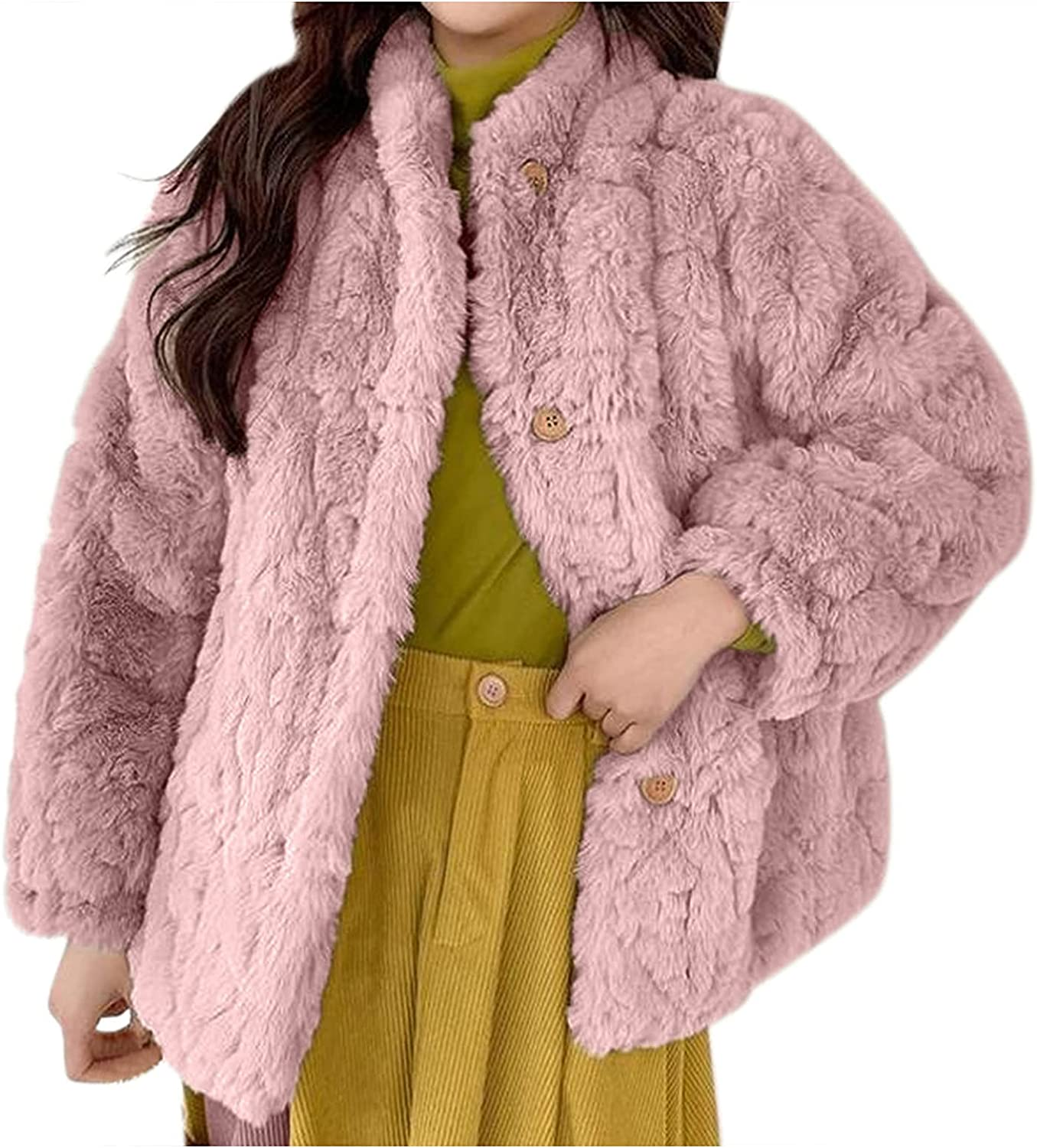 Women Casual Fuzzy Sherpa Coats Warm Fluffy Jacket with Fleece Lined Oversized Top Button Faux Jacket Outwear with Pockets