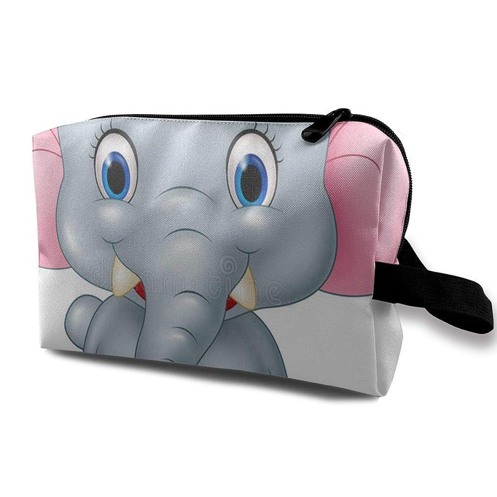 識別する反発マカダム漫画面白い赤ちゃん象 ポーチ 旅行 化粧ポーチ 防水 収納ポーチ コスメポーチ 軽量 トラベルポーチ25cm×16cm×12cm