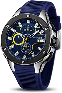 Hombre Relojes Moda Impermeable Silicona Cronógrafo Relojes Negocios Analogicos Cuarzo Relojes Clásico Azul Correa Fecha C...