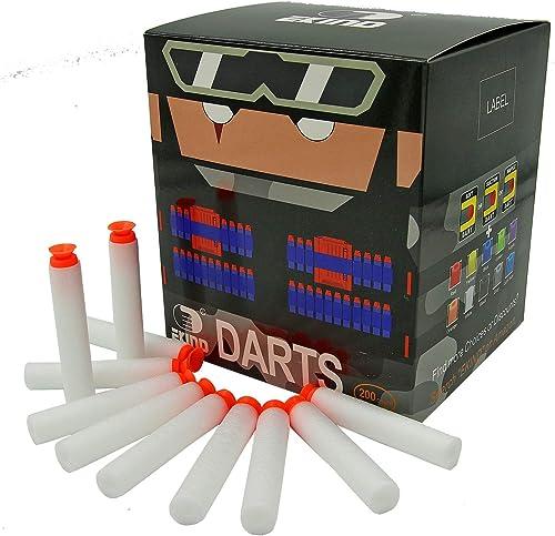 EKIND 200Pcs Suction Darts Compatible for Nerf N-Strike Elite Blaster (White)