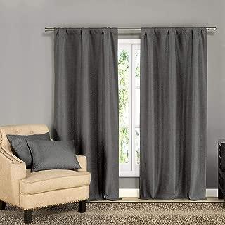 Kelvin - Home Decorator Window Curtain Pair Panel Set & Decorative Throw Pillow Cushion Cover Pillowcase Euro Sham for Bed, Sofa, Couch, Living Room - 38 X 84 Inch - Dark Grey